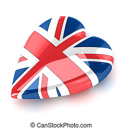 Heart England - A Colourful 3d Rendered Union Jack Heart...