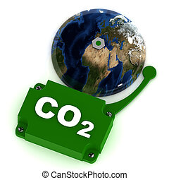 Co2 Warning - A Colourful 3d Rendered Illustration of a...