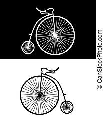 vintage bikes - silhouettes of vintage bikes on the black...