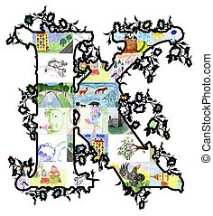 Letter K. - The letter K of children's drawings. Made by...