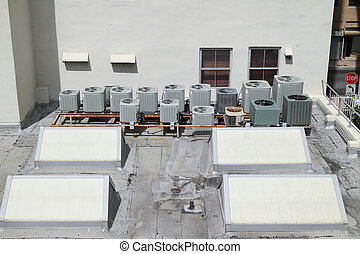 Rooftop AC - 1 - Overview of multiple air conditioning units...
