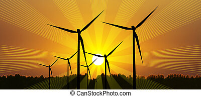 Power concept at sunset