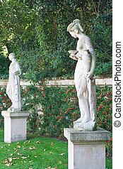 Sculpture in the Park Bagatelle (Parc de Bagatelle) in the...