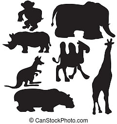 Silhouettes of animals - Assembly of silhouettes of the...