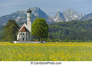landmark church St Coloman in Bavaria, Germany, at...