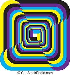 Hypnotic yellow, cyan, magenta, black