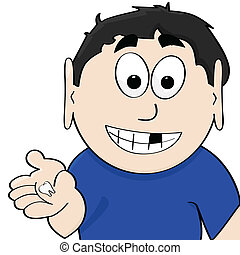 Lost tooth - Cartoon illustration showing a boy displaying...