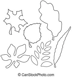 Vector image of leaves - Vector illustration of different...