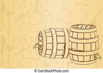 Beer Barrel on Vintage Background - illustration of beer...