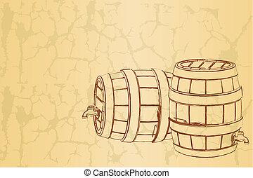 Cerveja, barril, vindima, fundo