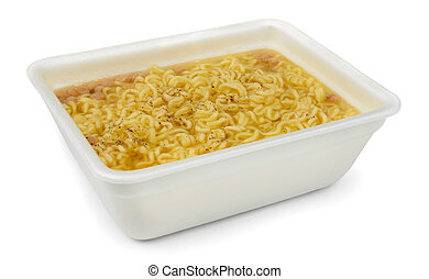 Instant noodles in styrofoam box isolated on white