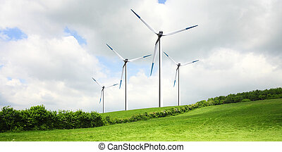 Turbines on green field