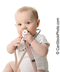 Baby with stethoscope - Adorable baby sitting up wearing and...