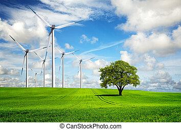 cambio, turbinas, viento