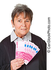 Court fees - Female lawyer with money - isolated on white...