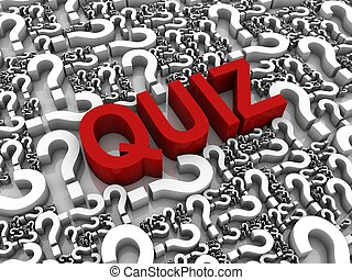 Quiz - Success 3D text surrounded by question marks. Part of...