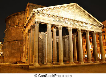 Pantheon, Rome - Night view of Pantheon, Rome