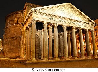 Pantheon, Rome - Night view of Pantheon, Rome