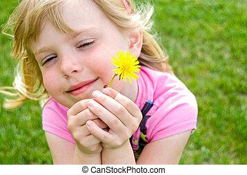 Ladybug - Little girl with ladybug and dandelion.