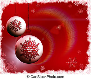 Christmas bulbs on red background with snowflakes