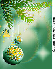 Christmas bulbs and bell on green background