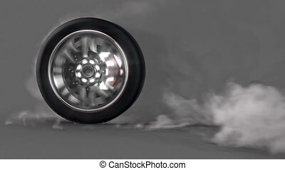 burnout wheel alpha loop - extreme tire Burnout on asphalt,...