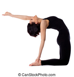 woman back bends yoga - camel pose isolated - young woman...