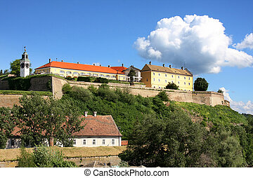 Novi Sad, Serbia - Petrovaradin Fortress and Danube river in...