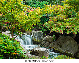 Water cascade - Beautiful water cascade in Kyoto Garden -...