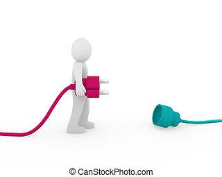 3d human man plug pink green