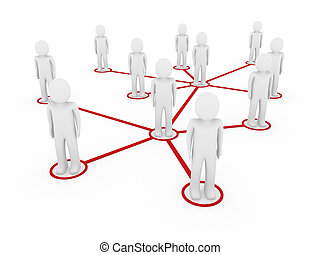 3d men network social red people connection teamwork