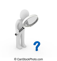 3d magnifying glass question mark blue