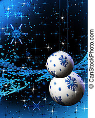 Abstract sparkling blue holiday bulbs and ornaments