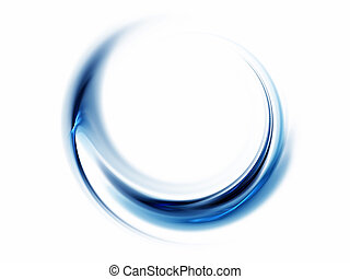 Blue abstract, wavy lines on white background