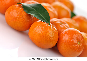 mandarin fruits - Mandarins , close up on a white background...