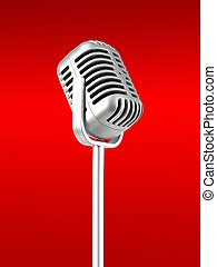 Microphone - A microphone isolated against a red background