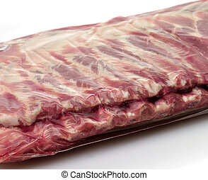raw ribs close up