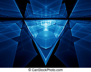 blue geometrical perspective