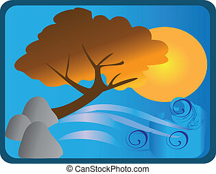 Tree design with rocks sun and wave