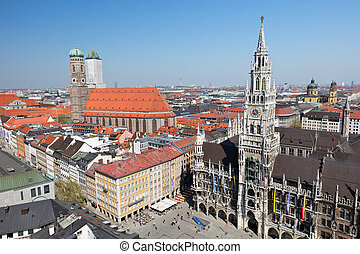 Munich aerial view - Historical center of Munich city:...