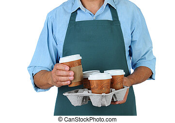 Barista with coffee tray - Barista holding a take out tray...