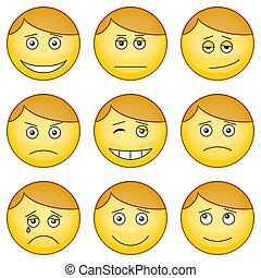 Smilies, set - Set of the round smilies symbolising various...