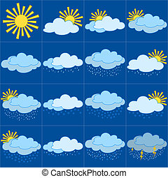 Meteorological symbols - Set vector weather icons,...