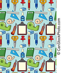 cartoon stationery seamless pattern