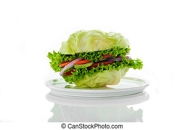 Vegetarian burger - cabbage, tomato, cucumber, onion,...