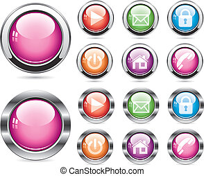 vector set of glossy buttons