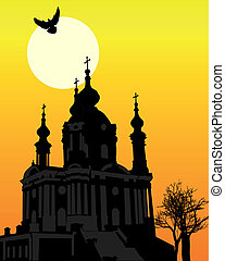 St Andrews Church in Kiev - silhouette of St Andrews Church...