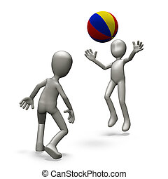 Ball - People play with the ball on the beach. 3d render