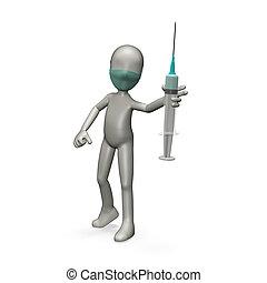 Syringe - Doctor holding a syringe 3d render