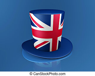 british hat - british red cross hat on blue background